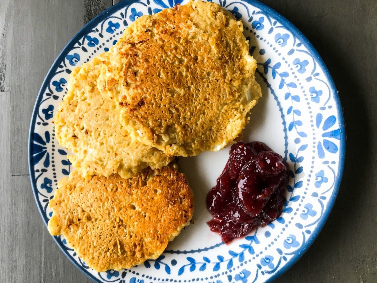 3 cottage cheese and yogurt pancakes served with raspberry jam